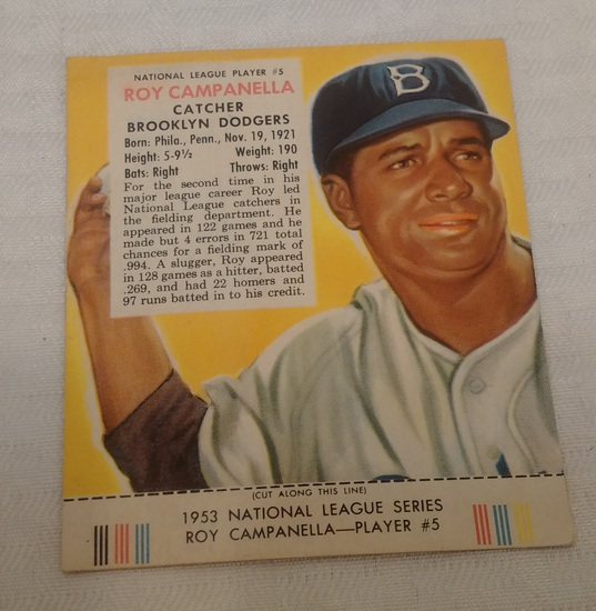 Vintage 1953 Red Man Tobacco Baseball Card w/ Tab Roy Campanella Campy Dodgers HOF