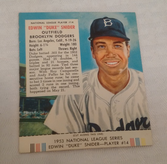 Vintage 1953 Red Man Tobacco Baseball Card w/ Tab Duke Snider Dodgers HOF