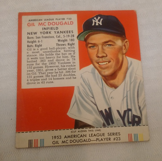 Vintage 1953 Red Man Tobacco Baseball Card w/ Tab Gil McDougald Yankees