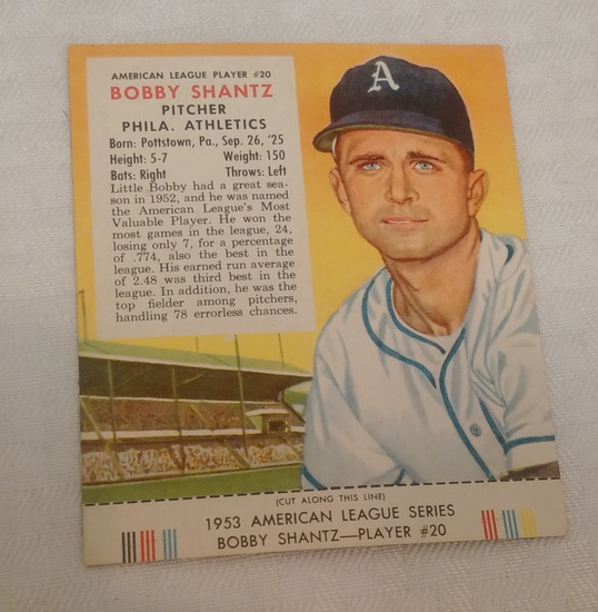 Vintage 1953 Red Man Tobacco Baseball Card w/ Tab Bobby Shantz Athletics A's