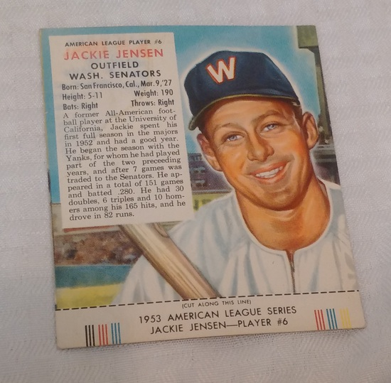 Vintage 1953 Red Man Tobacco Baseball Card w/ Tab Jackie Jensen Senators
