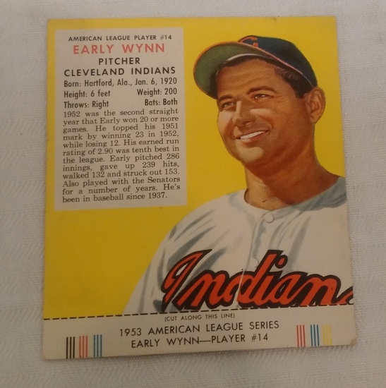 Vintage 1953 Red Man Tobacco Baseball Card w/ Tab Early Wynn Indians HOF