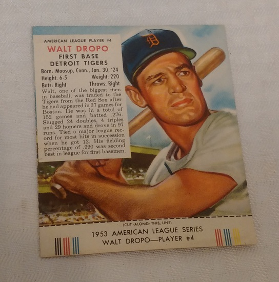 Vintage 1953 Red Man Tobacco Baseball Card w/ Tab Walt Dropo Tigers