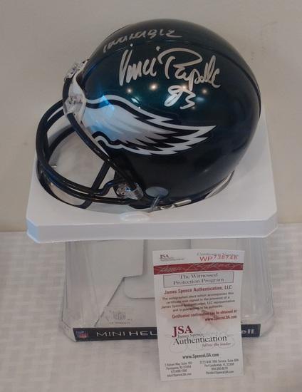 Vince Papale Mini NFL Football Helmet Riddell Eagles JSA COA NFL Invincible