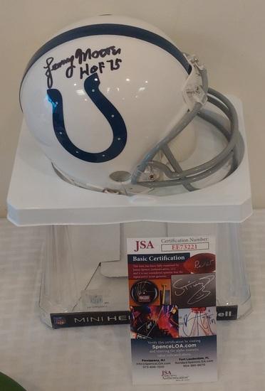Lenny Moore Autographed Signed Mini NFL Colts Riddell Helmet JSA COA HOF Inscription