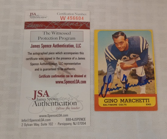 Vintage 1963 Topps NFL Football Gino Marchetti Autographed Signed Card JSA COA Colts