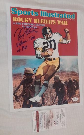 Rocky Bleier Autographed Signed 11x14 Photo Steelers JSA COA Rare Inscription Vietnam Class 1969 NFL