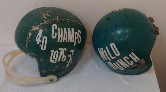 2 Vintage Rare 1950s MacGregor Geodetic Suspension Football Helmet Super Air Padded Facemask Green