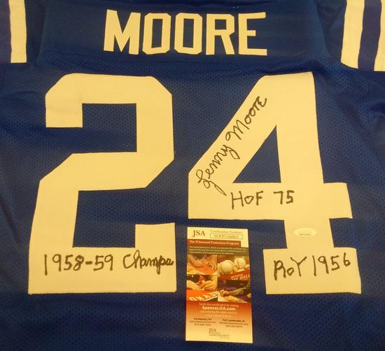 Lenny Moore Colts NFL Football Custom Jersey w/ 3 Inscriptions Rare Signed Autographed JSA HOF XL