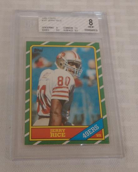 Vintage 1986 Topps NFL Football #161 Rookie Card Jerry Rice RC 49ers HOF Beckett GRADED BGS 8 NRMT
