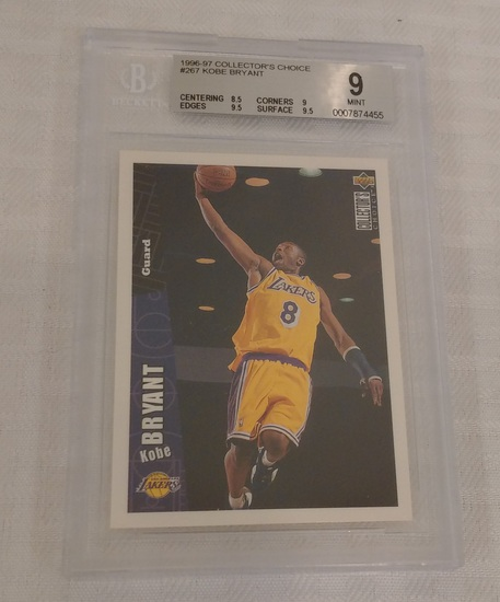 1996-97 Collector's Choice NBA Basketball Kobe Bryant Lakers Rookie Card RC BGS Beckett GRADED 9 MT