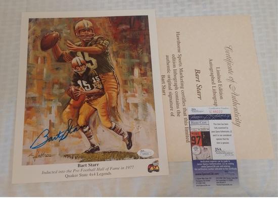 Bart Starr Autographed Signed 9x11 Litho Poster Photo Print JSA COA Packers HOF Quaker State NFL