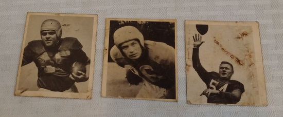 3 Vintage 1948 Bowman NFL Football Rookie Card Lot RC Holovak Christman Sarringhaus