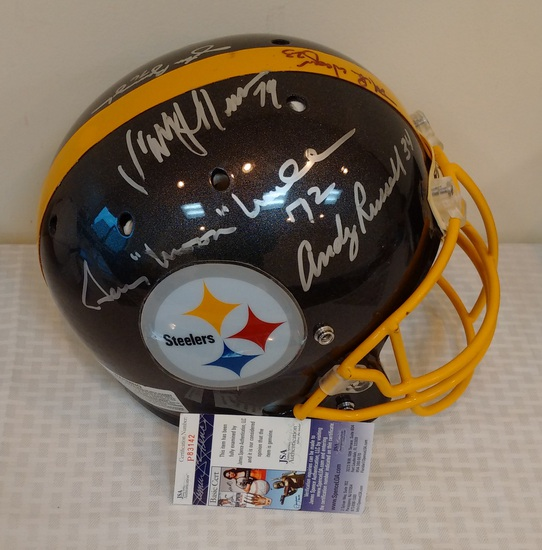 Pittsburgh Steelers Autographed Multi Signed Full Size Helmet NFL Andy Russell Mike Wagner +3 JSA