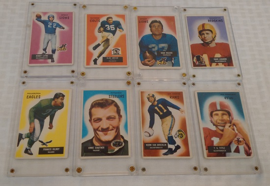 8 Vintage 1955 Bowman Football Card Lot LeBaron Walker Ameche Layne Tittle Bucklin Stautner Kilroy