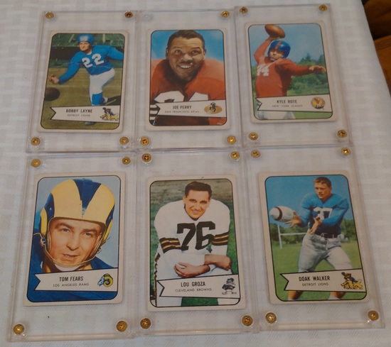 6 Vintage 1954 Bowman NFL Football Card Lot Walker Groza Fears Layne Perry Rote