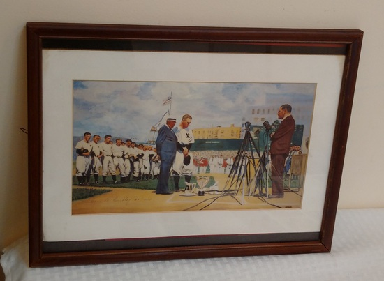Vintage Yankees Print Limited Edition 04/1000 Framed Lou Gehrig