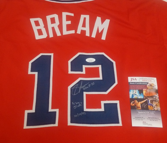 Sid Bream Autographed Signed Custom Stitched Jersey Slide Inscription Braves JSA COA