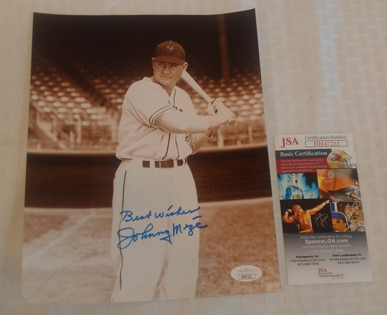Johnny Mize Autographed 8x10 Photo NY Giants JSA COA MLB Baseball