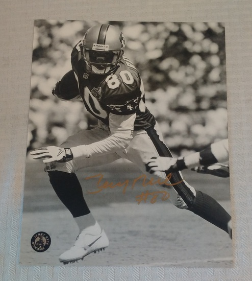Jerry Rice Autographed 8x10 B/W w/ His Own Hologram COA 49ers HOF NFL Football