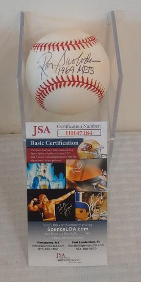 Ron Swoboda Autographed Signed ROMLB Baseball Ball MLB 1969 Mets Inscription JSA COA Case