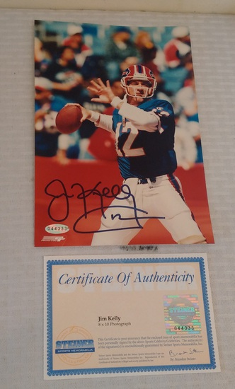 Jim Kelly Autographed Signed Photo Bills HOF NFL Steiner COA