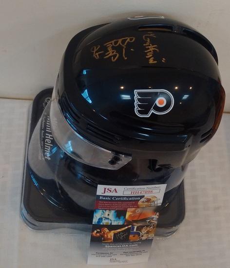 Brian Popp NHL Hockey Mini Helmet Flyers Autographed Signed JSA COA Guffaw Inscription