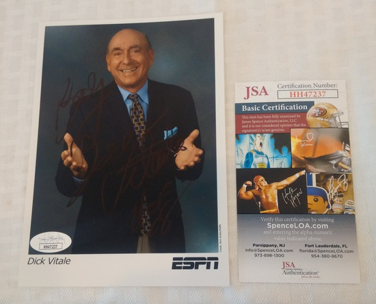 Dick Vitale Basketball ESPN Announcer Signed Autographed 5x7 Photo JSA COA