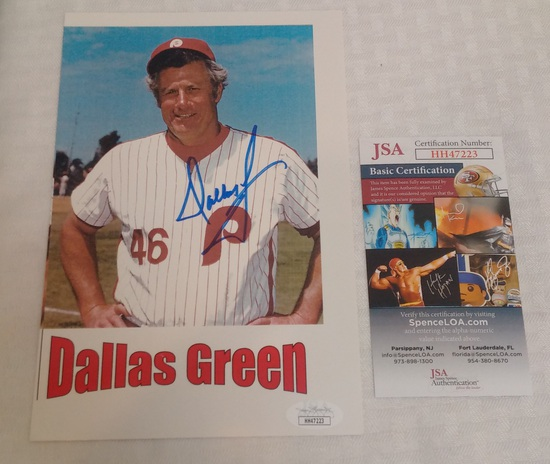 Dallas Green Autographed Photo Card Phillies MLB JSA