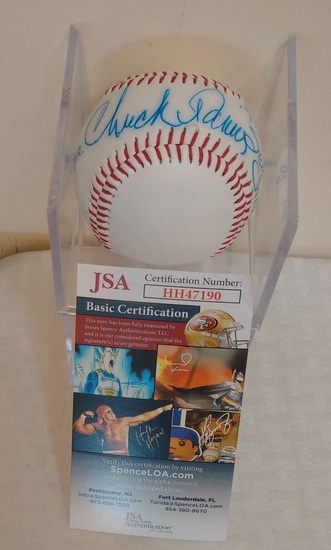 Chuck Tanner Autographed Signed Baseball MLB Pirates 1979 WS Champs Inscription JSA COA w/ Case