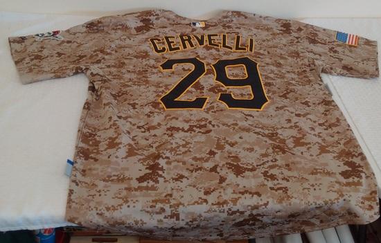 Francisco Cervelli Pirates Camo MLB Baseball Majestic Jersey Size 56