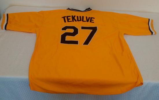Kent Tekulve Cooperstown Majestic MLB Baseball Stitched Pirated 1979 Jersey Size 56 Yellow