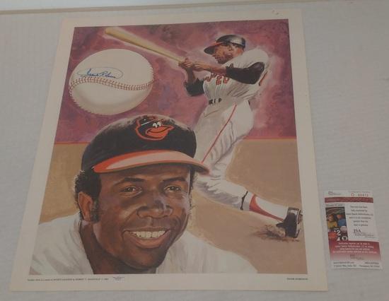 Frank Robinson Autographed Signed 20x24 Lithograph Poster Orioles HOF Baseball JSA COA