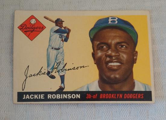Vintage 1955 Topps Baseball Card #50 Jackie Robinson Dodgers HOF Key Card