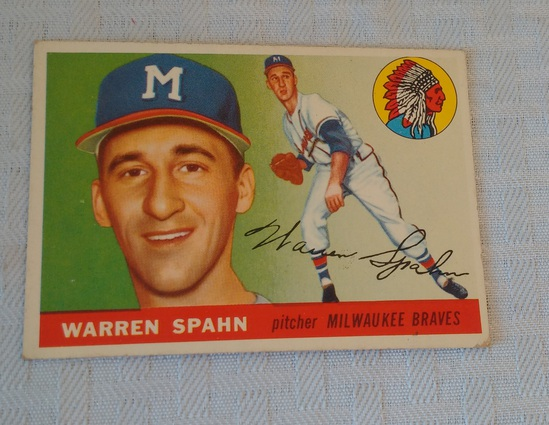 Vintage 1955 Topps Baseball Card #31 Warren Spahn Braves HOF Key Card