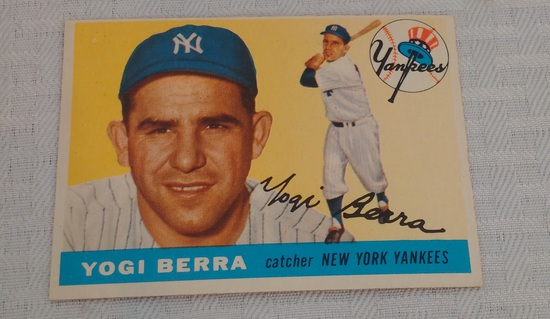 Vintage 1955 Topps Baseball Card #195 Yogi Berra Yankees HOF Key Card
