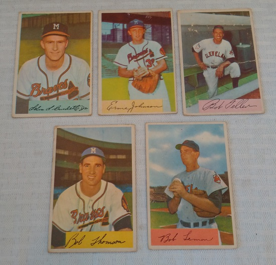 4 Vintage 1954 Bowman Baseball Card Lot Lemon Thomson Feller Johnson Burdette