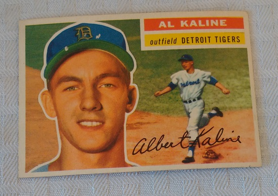 Vintage 1956 Topps Baseball Card #20 Al Kaline Tigers HOF Key Card Gray Back Nice