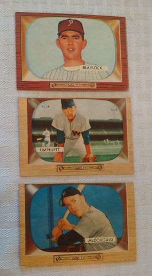 3 Vintage 1955 Bowman NFL Football Card Lot Blaylock McDougald Umphlett