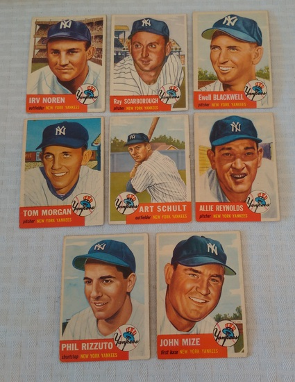 8 Vintage 1953 Topps Baseball Card Lot Mize Rizzuto Reynolds Noren Scarborough Blackwell All Yankees