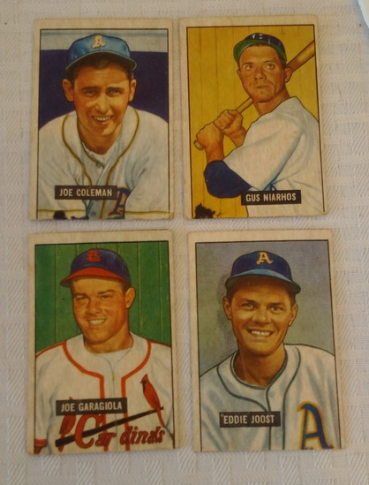 Vintage 1951 Bowman Baseball 4 Card Lot Coleman Niarhos Garagiola Joost