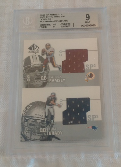2002 SP Authentic Threads Jersey Game Used Relic Insert Tom Brady Patrick Ramsey BGS GRADED 9 MINT
