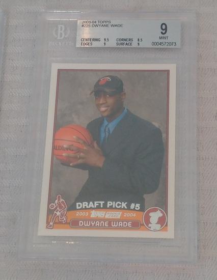 2003-04 Topps NBA Basketball Rookie Card Dwayne Wade BGS Beckett GRADED 9 MINT Heat RC