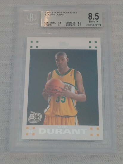 2007-08 Topps NBA Basketball Rookie Card #2 Kevin Durant RC BGS Beckett GRADED 8.5 MINT White #1