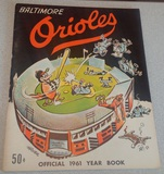 Vintage 1961 Baltimore Orioles Yearbook Program Nice Clean