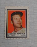 Vintage 1962 Topps Baseball Stamp Insert Mickey Mantle Yankees HOF Nice Example