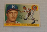 Vintage 1955 Topps Baseball Card #155 Eddie Mathews Braves HOF Key Card