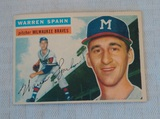 Vintage 1956 Topps Baseball Card #21 Warren Spahn Braves HOF Key Card White Back Nice