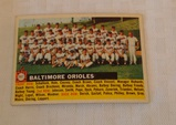 Vintage 1956 Topps Baseball Team Card #100 Baltimore Orioles Gray Back Nice Card Name At Left