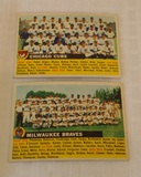 Vintage 1956 Topps Baseball Team Card Lot Milwaukee Braves & Chicago Cubs Aaron Banks Spahn Mathews